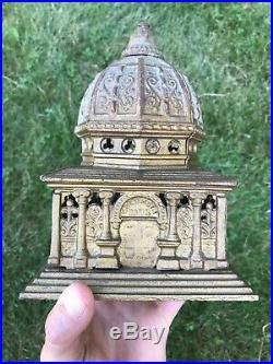 Antique Kenton Cast Iron Columbia Bank Building LARGE Measures 7.5 Coin Still