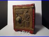 Antique Kenton Hardware Cast Iron Safe Bank Rare Red Version