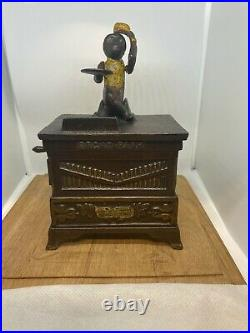 Antique Kyser & Rex Cast Iron Monkey Organ Mechanical Bank with Key NOT A REPRO