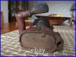 Antique LITTLE JOE BANK Cast Iron Mechanical Money Box Functioning Very Rare