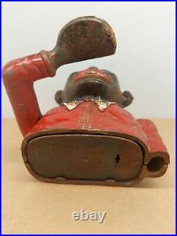 Antique LITTLE JOE BANK Cast Iron Mechanical Money Box ORIGINAL NOT REPRO