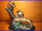 Antique Lion & 2 Monkeys Cast Iron Mechanical Bank Kyser & Rex c. 1883