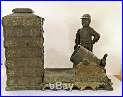 Antique MAY 31, 1892, CAST IRON WORKING MECHANICAL ARTILLERY BANK