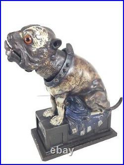 Antique Mechanical Cast Iron Bank J&E Stevens 1890s Bulldog Dog Blue Blanket