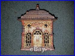 Antique Original Cast Iron Home Savings Bank Building Still 1896 1899 State