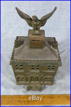 Antique Original Eagle Bank Cast Iron Still Bank