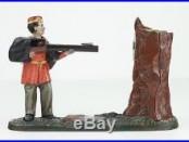 Antique Original JE Stevens Creedmore Cast Iron Mechanical Bank Fully Working