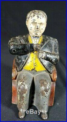 Antique Original J. &e. Stevens Tammany-boss Tweed Cast Iron Mechanical Bank