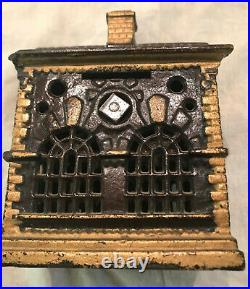 Antique Original Kenton Cast Iron House or School Still Bank