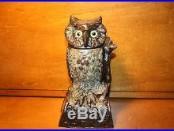 Antique Owl Turns Head Cast Iron Mechanical Bank J & E Stevens Original c. 1880