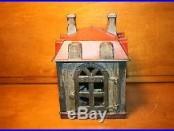 Antique Painted Cast Iron Novelty Building Mechanical Bank J & E Stevens 1873