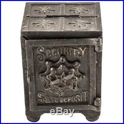 Antique Patented 1887 Security Safe Deposit Cast Iron Coin Bank, Original Paint