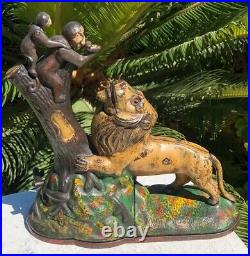 Antique Rare 1883 Lion & Monkeys Mechanical Cast Iron Bank KYSER & REX