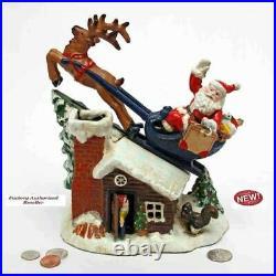 Antique Replica Santa's Rooftop Sleigh Ride Die Cast Iron Mechanical Coin Bank