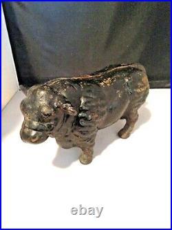 Antique Rustic Rare Cast Iron Bull Cow Coin Bank 10 1/2 Long 5 1/2 Tall