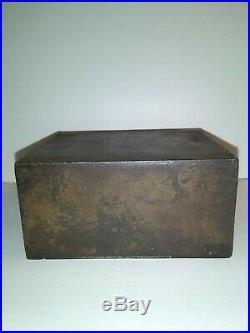 Antique S. D. Child's Co. Cast Iron Strong Box Bank Lockbox No Key Pat. Apl. For