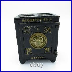 Antique Security Safe Deposit Cast Iron Bank, Dated Mar 1, 1887