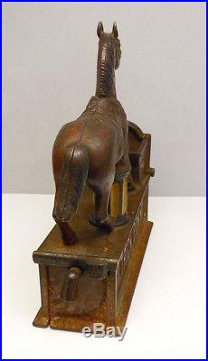 Antique Shepard Hardware Trick Pony Cast Iron Mechanical Bank Free Shipping