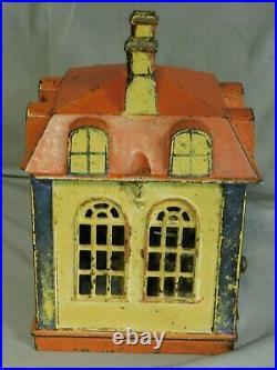 Antique Stevens 1873 Cast Iron Mechanical NOVELTY Bank Building Original Paint