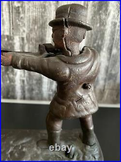 Antique Theodore Roosevelt Teddy and the Bear Cast Iron Mechanical Bank