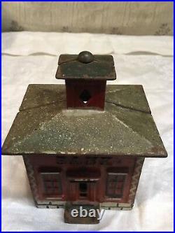 Antique Toy Bank building cast iron original paint! Kenton, Stevens Beauty