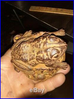 Antique Victorian 1886 J E Stevens Cast Iron Toad Frog on Stump Mechanical Bank