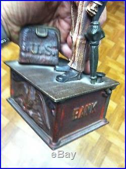Antique Vintage Cast Iron Uncle Sam Mechanical Bank by Shepard Hardware cir. 1886