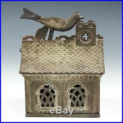 Antique Vintage J & E Stevens Cast Iron Bird On Roof Mechanical Coin Bank