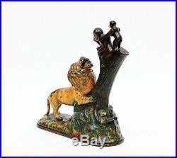 Antique Vintage Kyser & Rex Lion & Monkeys Cast Iron Bank Original 1883 Bank