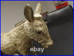 Antique Vintage Old Cast Iron Donkey Coin Bank