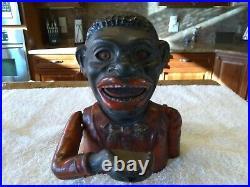 Antique Vintage Original Black Americana Cast Iron Mechanical Bank