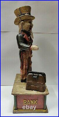 Antique / Vintage Style Cast Iron Uncle Sam American Mechanical Box Bank