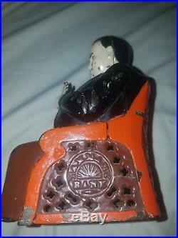 Antique Vtg 1873 J E Stevens Cast Iron Tammany Hall Boss Mechanical Penny Bank