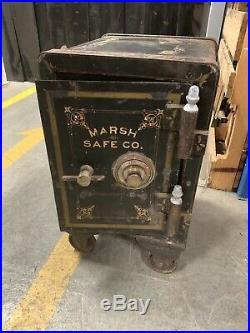 Antique Vtg 1890's Cast Iron Salesman Sample Marsh Safe Co. Bank Bridgeport Ct