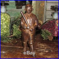 Antique Vtg 1909 AC Williams Cast Iron Gold Baseball Player Still Penny Bank NR