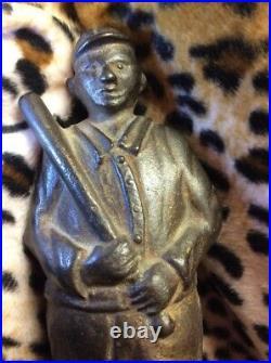 Antique Vtg 1920 AC Williams Cast Iron Blue Baseball Player Still Bank Gift Idea
