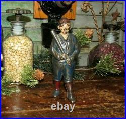Antique Vtg 1920 Williams Cast Iron Blue Ty Cobb Baseball Player Still Bank ASIS