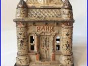 Antique Vtg Cast Iron Castle Building Still Bank 1895 J. E. Stevens