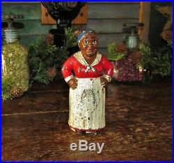 Antique Vtg Hubley Cast Iron Mammy with Hands on Hips Aunt Jemima Still Bank NR