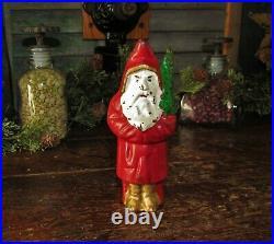 Antique Vtg Hubley Cast Iron Santa Claus with Christmas Tree Still Bank NR