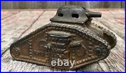 Antique WWI 1918 Cast Iron TANK BANK Army Coin Money Piggy Bank