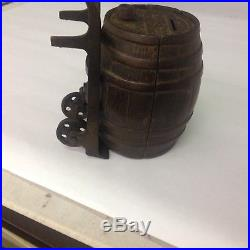 Antique White City Puzzle Savings Bank Barrel Nicol and Co. Chicago G-413