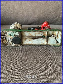 Antique Working Original 1880s Indian And The BEAR HUNT Antique Cast Iron Bank