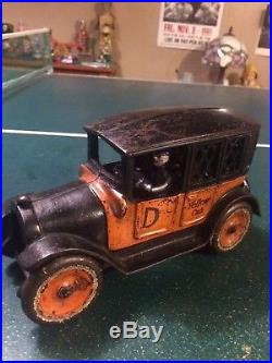 Antique arcade cast iron large taxi cab bank still bank from the 20s