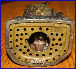 Antique c1880 J&E Stevens Original Owl Turns Head Cast Iron Mechanical Bank