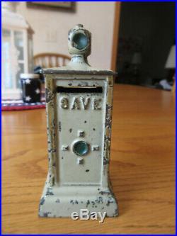 Antique c1920's Dent cast iron Stop & Save traffic light still bank