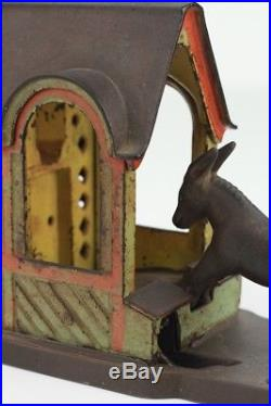 Antique c. 1880s J&E Stevens Mule Entering Barn Mechanical Cast Iron Coin Bank