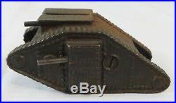 Antique cast Iron WW1 Tank Penny Still Bank