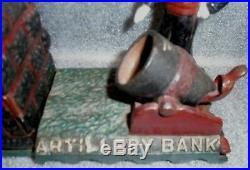Antique cast iron artillery mechanical bank rare variation