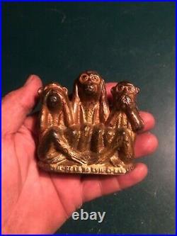 Antique cast-iron three wise monkeys still bank 20s